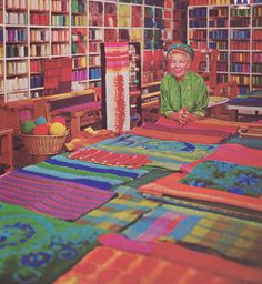 Dorothy Liebes in her New York City Textile Design Studio