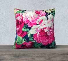 Pink White and Green Floral Pillow Cover, Floral Cushion, Velveteen, Throw Pillow, Cushion Cover, Sofa Cushion, French Country Style