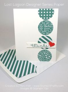 A simple stamped Cottage Greetings sentiment and patterned pops of Lost Lagoon are the foundation of this thank you card- created by Mary Fish, Independent Stampin' Up! Demonstrator.  Details, supply list and more card ideas on http://stampinpretty.com/2015/09/making-a-case-for-cottage-greetings.html