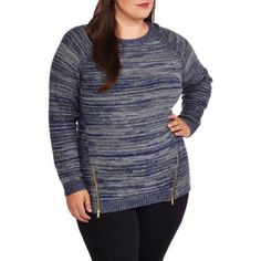 Plus Size Heart and Crush Women's Plus Multi Knit Zip Side Sweater, Size: 1XL, Multicolor