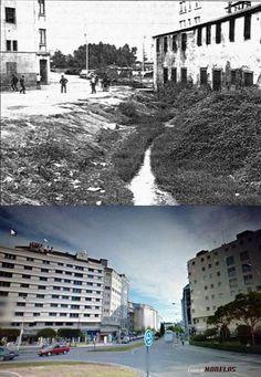 Antes y Después del inicio de la Avda Perez Ardá,arriba con el río Monelos aún sin canalizar - camposa