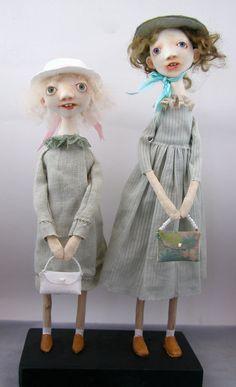 Folk Art Dolls cloth and clay sister by CindyRiccardelli on Etsy, $300.00