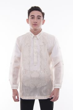 This hand-embroidered barong is made out of Cocoon, an intricately-woven fabric that closely resembles Pina. Suit Up, Suit And Tie, Wedding Attire, Wedding Gowns, Graduation Attire, Barong Tagalog, Filipino Culture, Backless Gown, Filipiniana