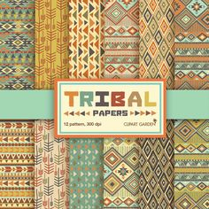 INSTANT DOWNLOAD 12 Tribal aztec Digital Papers Pack. (paper crafts,card making,scrapbooking) on Etsy, $3.90