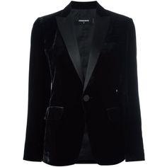 Dsquared2 'Tuxedo' velvet effect blazer (45.155 RUB) ❤ liked on Polyvore featuring outerwear, jackets, blazers, blazer, coats & jackets, velvet, black, long sleeve jacket, long sleeve blazer and velvet tuxedo