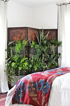 Cocoon Home shows us a delightful way to create a vertical garden folding screen in your home. It can also be a living wall divider too! To see more before and after photos, visit Cocoon Home. Indoor Plant Wall, Best Indoor Plants, Indoor Garden, Living Wall Planter, Wall Planters, Botanical Bedroom, Backyard Gazebo, Patio, Diy Bed