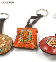 Bloom / Orange Square 03 Leather Key Ring via Etsy