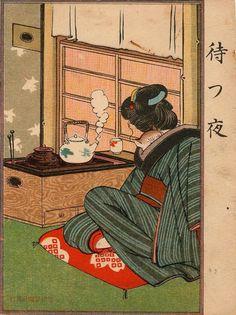 Ehagaki Sekai ( ), JApanese / 'A Night of Waiting', 1908 ... painting of Japanese woman in kimono with cat peeking over her shoulder preparing tea Japanese Artwork, Japanese Painting, Japanese Prints, Japanese Design, Korean Painting, Japanese Woodcut, Art Chinois, Meiji Era, Traditional Japanese Art