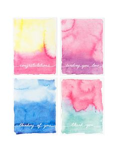 Our vibrant watercolor cards come in a handy set (Congratulations, Sending you…