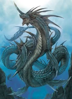 """Rahab- Jewish folklore: a sea monster or water dragon. """"The demonic angel of the sea"""". Represents the primordial abyss, darkness, and chaos. Is associated with the Red Sea."""