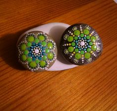 2 Painted Stones~ Hand Painted Rocks by Miranda Pitrone~ Sister Stones~ Dot Art~Turquoise & Green Mandala Flowers~ by P4MirandaPitrone on Etsy