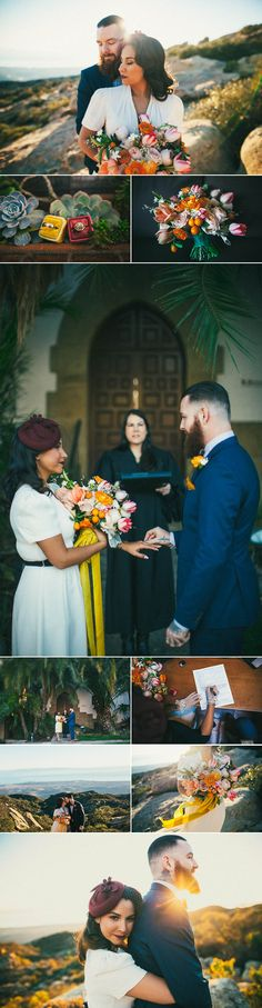 This vintage bride and her rockstar groom tied the knot in a Santa Barbara County Courthouse elopement | Image by Kappen Photography