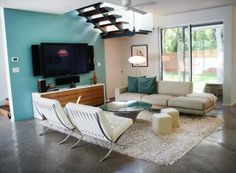 Family Room accent wall with white sofa Design Ideas, Pictures, Remodel and Decor Teal Living Rooms, My Living Room, Living Room Designs, Living Spaces, Modern Family Rooms, Modern Room, Teal Kitchen Designs, Danish Living Room, White Sofa Design