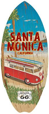 Beach Surfboard Home Decor-Woody-Santa Monica California-Route 66 USA  Note: Make one for each state you lived to live in...