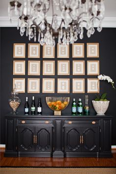 black (caviar sherwin williams) and gold dining room. Two black walls and one ball with gold wall paper Buffets, Black Buffet, Grey Paint Colors, Gray Paint, Dark Walls, Black Rooms, Black Dining Rooms, Home Decor Inspiration, Console Table