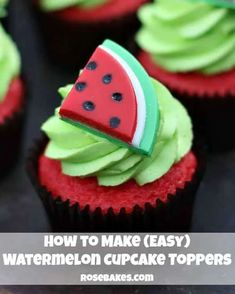 How to Make Easy Watermelon Cupcake Toppers by Rose Bakes #cupcaketoppers #watermelon #cakedecorating Cupcakes Design, Cupcakes Cool, Cute Cakes, Fondant Cupcakes, Cake Designs, Fondant Icing, Cookies Cupcake, Popcorn Cupcakes, Cupcakes Decorados