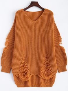 $11.17 Loose Distressed Pullover Sweater