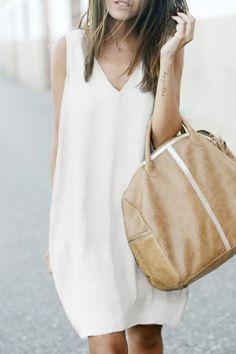 White V Neck Sleeveless Dress