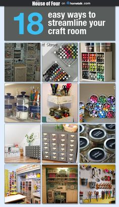 Space Guide 18 easy ways to streamline your craft room and a simple guide to organize your supplies. - 18 Ways to Streamline Your Craft Room.