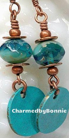 Turquoise Boho Bead Earrings, Blue, Patina, Czech Glass Bead, Copper, Dangle Charm, Bohemian Boho Jewelry, Gift For Her