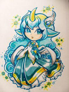 Star Guardian Soraka princess chibi traditional by JamilSC11
