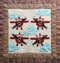 Applique Airplane Quilt  37  x 37 inches by DeesArtistries on Etsy