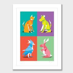Paper Pets Art Print by Glenn Jones