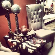Tufted Pierre Captain Chair and Marble Top Table