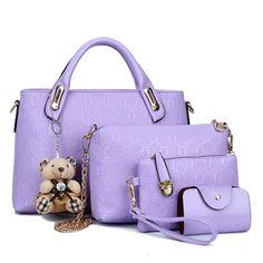 Classic PU Leather 4 Pcs Set Handbag