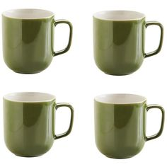 Price & Kensington Olive Green Stoneware Mugs Set of 4 (£12) ❤ liked on Polyvore featuring home, kitchen & dining, drinkware, set of 4 mugs, tea mug, stoneware mugs, stoneware mug set and tea mug set