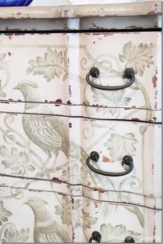 Painted furniture - distressed white dresser with birds and foliage details (scheduled via http://www.tailwindapp.com?utm_source=pinterest&utm_medium=twpin&utm_content=post864123&utm_campaign=scheduler_attribution)