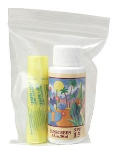 1oz. Sunscreen - Lip Kist -in Ziplock Bag - Sun Protection Sun Screen - Sun Block for Body and Lips - Natural UVA and UVB Sunblock by Arizona Sun. $5.50. Choose Between SPF 15 or SPF 30 1 oz Sunscreen. Perfect Travel or Trial Size. UVA and UVB Ultimate Sun Protection Combination for the Body and Lips. This is the ultimate mini kit designed to protect your body and lips from harmful uva and uvb sun rays and help prevent sunburns.  You can choose between a 1 oz SPF 15 or ...