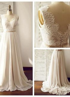 Wedding dress,bridal gown,lace wedding dress,v-back wedding dress,simple wedding dress,elegant bridal gown,PD190030