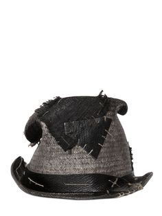 c29197bfc39 MOVE - VINTAGE EFFECT PATCHED STRAW TOP HAT - HATS - GREY - LUISAVIAROMA -  Leather