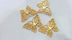 2 Pcs Gold Plated Brass Butterfly CharmsConnector by AZsupplies, $2.30