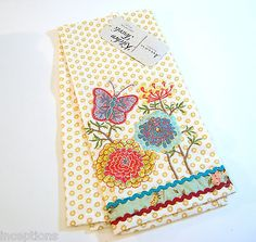 Good Artistic Accents Cotton Kitchen Tea Towel Embroidered Butterfly Rickrack    NEW