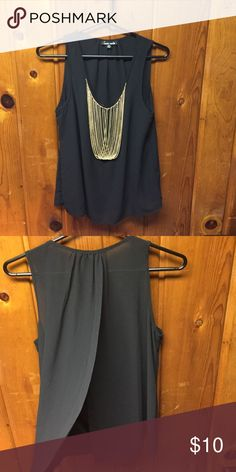 Sheer Black Chain Tank In Great Condition 100% Polyester/ The Back has a slit that opens in the back. Tops Tank Tops