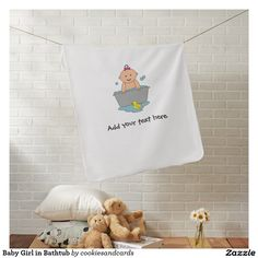 Baby Girl in Bathtub Baby Blanket. Designed by Cookies and Cards. #babyblankets #babygiftideas #newbabygifts