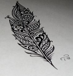 feather Tattoo. love all the details