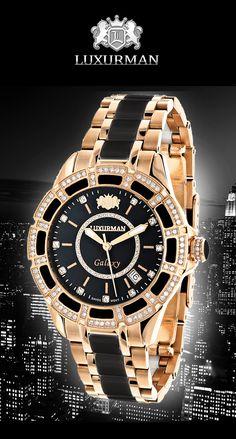 Diamond Mens & Womens Black Ceramic Watches: This unique Rose Gold Plated Luxurman Galaxy Midsize Diamond Watch showcases 1.25 carats of genuine diamonds.