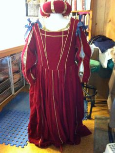 Italian Renaissance camica, stays, red velvet gown by StitchingUpHistory, $300.00