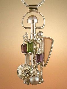 Gregorio Pyra Piro Plata de Ley y Oro Perfume Botella #Colgante 1530