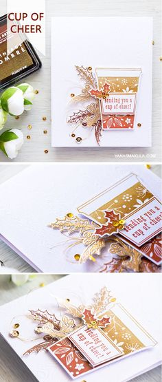 Sending you a cup of cheer with this Hero Arts Coffee Cup Tags stamp set and Ombre Vintage Metallic Rust Ink Pad. For details, visit http://www.yanasmakula.com/?p=55256