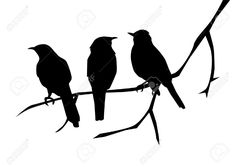 Birds Silhouettes On The Branch Royalty Free Cliparts, Vectors ...