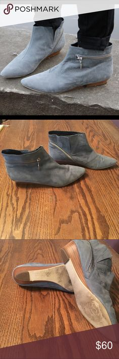 """Sale‼️‼️Pied juste anthropologie zip wedge boots Pull on styling, leather upper insole. 1"""" wrapped heel. Good condition! Worn but can't tell from the outside! Color is cool grey, with edgy wrap-around zipper. Anthropologie Shoes Ankle Boots & Booties"""