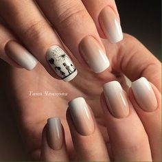 Color transition nails, Gentle gradient nails, Gradient nails with a transition, Ideas of beige nails, Ideas of winter nails, Manicure on the day of lovers, Medium nails, Nails trends 2017