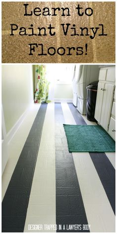 MUST PIN!  Learn how to paint outdated vinyl floors so that they look like this!  So easy and cheap!  Full tutorial by Designer Trapped in a...