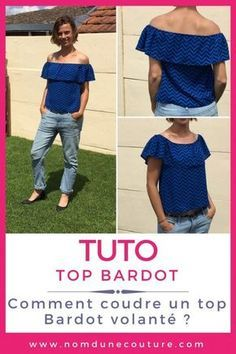 Tuto : Comment réaliser un top Bardot volanté ! Sew Your Own Clothes, Sewing Clothes, Diy Clothes, Top Bardot, Diy Tops, Couture Tops, Sewing For Beginners, Sewing Patterns, Women