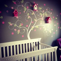 Beautiful blossom tree decal you can pick your colors and spread out however you wish, this customer added bird cages for a truly unique look for her nursery. Beautiful wall decals