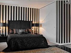 minimalist-black-bedroom-decorating-ideas-with-black-and-white-stripped-wall-decor